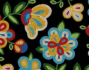 Beaded Floral Fabric - Tucson collection - Elizabeth Studio Fabric - 449 Black - Priced by the half yard