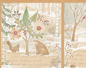 Blend Fabrics - A Day in the Forest Winter News by Cori Dantini - 112.117.01.1 - Priced by the Mini Panel