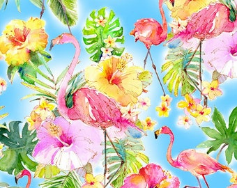 Flamingo Fabric - Flamingos in Paradise by Sykel Enterprises - Flamingos Allover 10291 X -  Priced by the half yard