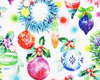 Wishwell Glow Ornaments by Vanessa Lillrose & Linda Fitch - R Kaufman 20211-1 White - Priced by the half yard
