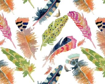 Curio Fabric - Feathers Plumes -  Betsy Olmsted for Windham  50865 4 Multi on White - Priced by the Half Yard