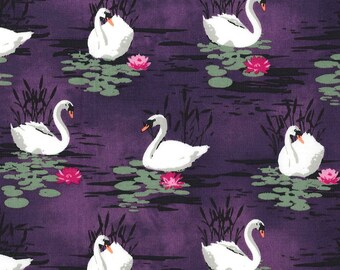 Swan Fabric, Swan Lake - Odette Serafina by Michael Miller, CX 7284 Aubergine (purple) - Priced by the half yard