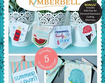 Kimberbell - Pennants and Banners Summer Lovin Machine Embroidery - KD557CD -  Machine Embroidery - DIY Project