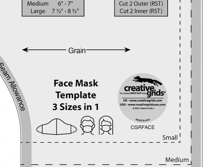 Featured listing image: Face Mask Template Ruler - Creative Grids Ruler CGRFACE Acrylic - Made in the USA