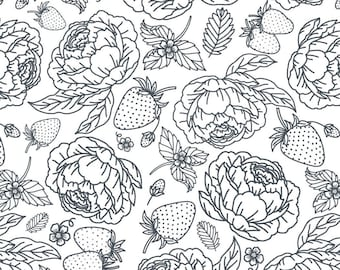 Gingham Farmhouse - Poppie Cotton - Peony Rose by Jina Barney & Lori Woods - 19112 Navy - Priced by the half yard