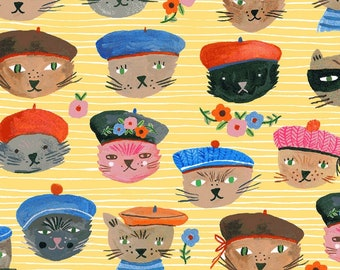 Cool Cat Fabric - French Cat - Ooh La La by Carolyn Gavin Collection - Organic Cotton 5149 2 Yellow - Priced by the 1/2 yard