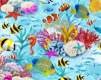 Under the Sea Fabric - Tropical Fish by Timeless Treasures - C 7960 - Priced by the Half Yard