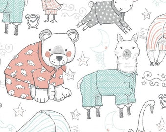 Comfy Flannel - Pajama Animals - Llama  Sloth - Cotton Flannel - AE Nathan -  14416 White - Priced by the half yard