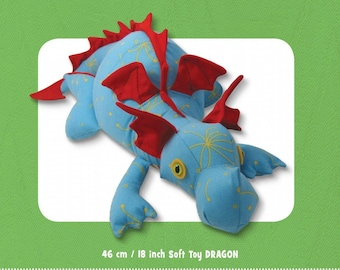 Dragon Stuffed Toy Pattern - Funky Friends Factory designed by Pauline - Diggles the Dragon 3982 - DIY Pattern