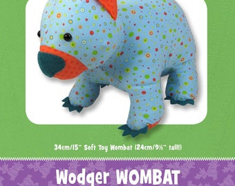 Wombat Stuffed Toy Pattern - Funky Friends Factory designed by Pauline - Wodger Wombat 4620 - DIY Pattern