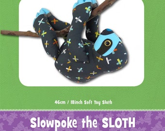 Sloth Stuffed Toy Pattern - Funky Friends Factory designed by Pauline - Slowpoke Sloth 4736 - DIY Pattern