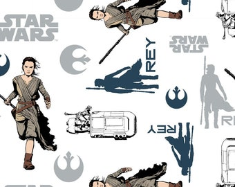 Star Wars Fabric - Immortals Rey - Resistance - Licensed Fabric - Camelot 7360104 White - Priced by the 1/2 yard