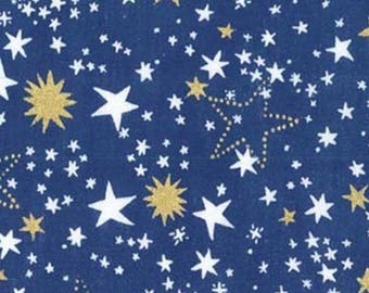 Starlight - Night Light - Star Fabric - Cat's Cradle Collection from Michael Miller - CM7601 Blue with Metallic - Priced by the half yard