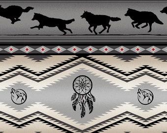 Tucson Stripe - Wolf Stripe - Dream Catcher - Southwest Fabric by Elizabeth Studio 556 Gray - Priced by the half yard