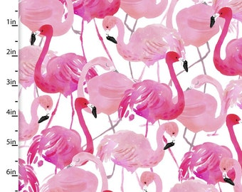 Tropical Fabric - Flamingo - 3 Wishes Fabric Tropicale 13782 Pink - Priced by the 1/2 yard