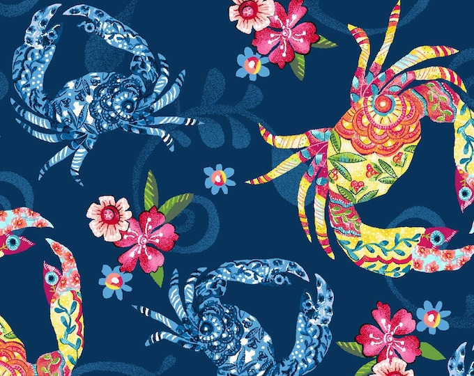 Featured listing image: Floral Crustacean Crab - Blooming Ocean - Pam Vale for Studio E - 5409 77 Blue - Priced by the Half Yard