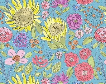 Summer Floral - Free Spirit Color Fusion Laura Heine Collection - Sunflower PWLH017 Blue - Priced by the 1/2 yard