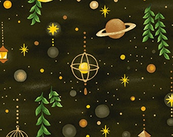 Forest Fable - Night Sky - Forest Sky - Paintbrush Studio - 120 19616 Black - Priced by the 1/2 yard