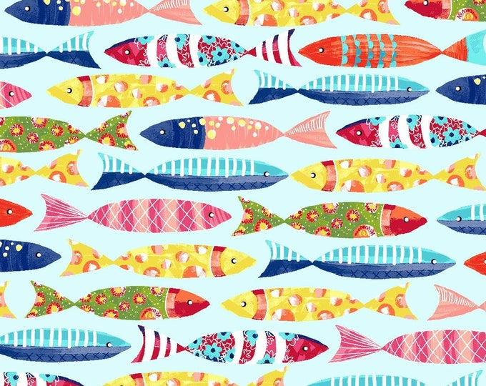 Featured listing image: Fish - Floral Fish - Blooming Ocean - Pam Vale for Studio E - 5410 18 - Priced by the Half Yard
