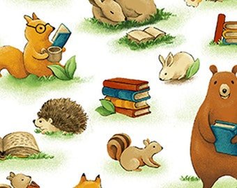Forest Fable - Animals & Books - Paintbrush Studio - 120 19615 White - Priced by the 1/2 yard