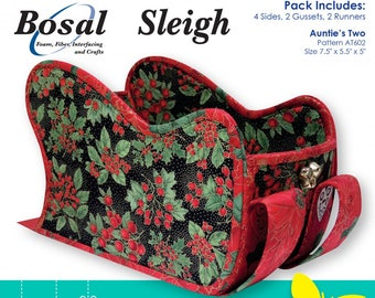 Card Holder - Holiday Sleigh - Bosal Double Sided Fusible - Bosal 337 White - Precut Sleigh pieces - pattern sold separately