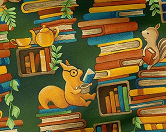 Forest Fable - Stacked Books - Animals & Books - Paintbrush Studio - 120 19617 - Priced by the 1/2 yard