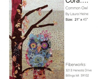 """Cora the Owl -  Laura Heine - Applique Quilt -   DIY Pattern Or Kit Option - 21"""" x 45"""" full size reusable template pattern"""