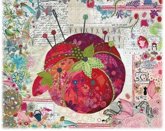"Pin Cushion Collage - Laura Heine - Fusible Applique - Mini Pin Cushion  30x30"" - DIY Pattern Or Kit Option - full size reusable template"