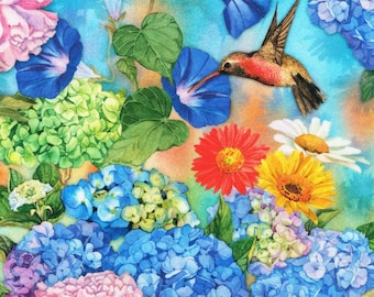 Garden Hummingbird Floral - Vibrant Garden Collection - Lynnea Washburn for Kaufman 18304238 - Priced by the Half yard