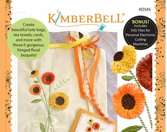 Kimberbell - In The Hoop - Fun with Fringe: Jars of Seasonal Flowers  KD545 - CD Machine Embroidery - Notebook Covers DIY