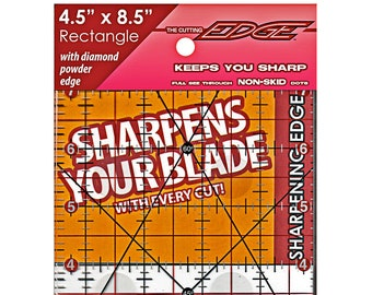 "Clear Sharpening Edge Ruler - The Cutting Edge 4.5"" x 8.5"" rectangle 38201 - Acrylic"
