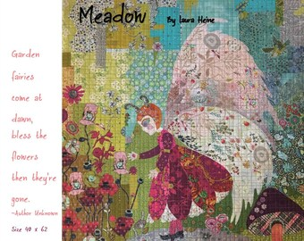 "Meadow Fairy - Laura Heine - Applique Quilt - Garden Fairy Collage 40""x62""  -  DIY Pattern Or Kit Option - full size reusable template"