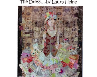 "The Dress Collage - Laura Heine - Applique Quilt - Party Dress 50""x70"" - DIY Pattern Or Kit Option - full size reusable template"