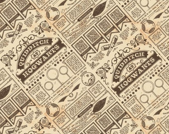 Harry Potter Quidditch - Wizarding World -  Camelot Fabric - 23800114 03 Tan - Priced by the half yard