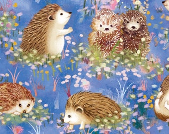 Hedgehogs by Judy Hansen Collection - Hedgehog Pairs -  Paintbrush Studio Fabric -120-13742 Blue - Priced by the half yard