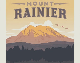 Rainier National Parks Fabric Poster - Anderson Design Group for Riley Blake C8793 - 36-Inch Panel