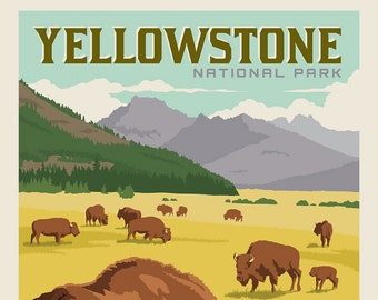 Yellowstone National Parks Fabric Poster - Anderson Design Group for Riley Blake P8790 - 36-Inch Panel