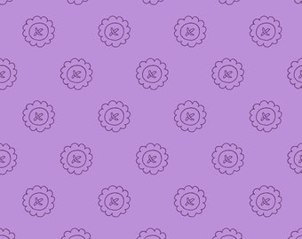 Spellcasters Garden  Button Fabric by Meg Hawkey Crabapple Hill for Maywood Studio -  MAS 9816 V Purple Violet - priced by the half yard