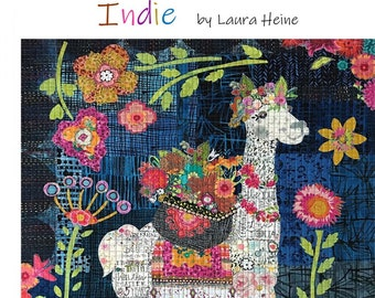 """Llama Collage - Laura Heine - Applique Quilt - Indie  30""""x36""""  - DIY Pattern Or Kit Option - full size reusable template"""