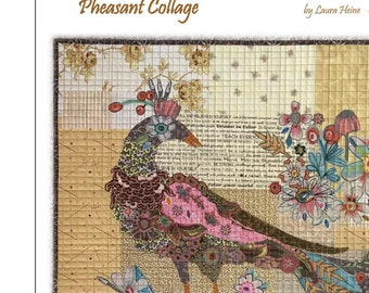 "Pheasant Collage - Raven Collage - Bird Collage - Laura Heine - Applique Quilt 24""x24"" - DIY Pattern Or Kit Option - full size template"