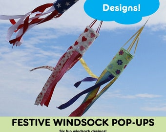 Windsock Pop Ups - 6 Designs - Fat Quarter Gypsy - Joanne Hillestad  - DIY Project - Pattern & Small Pop Up Included
