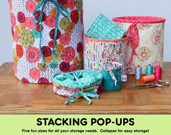 Stacking Pop Ups - Variable Size Pattern - Fat Quarter Gypsy - Joanne Hillestad  - 5 Sizes - DIY Project - Pattern ONLY, Spring not included