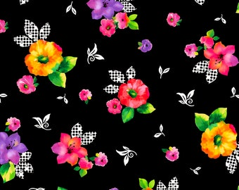 Brooke Fabric - Large Tossed Floral by Studio 8 for Quilting Treasures 26318 J Black, Multi-color - Priced by the 1/2 yard