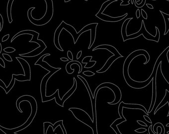 Tone on Tone Floral - Solid Fabric - Blender Fabric - In the Black by Maywood Studios MAS307 J Black - Priced by the 1/2 yard