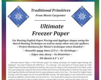 Ultimate Freezer Paper - Printable Freezer Paper - Applique Paper - Traditional Primitives by Missie Carpenter - 50 sheets - 8.5x11 inch -