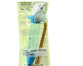 Darning Needle - Jumbo Size - Clover 340 - Needle & carrying case - 2 Bent tip needles per package