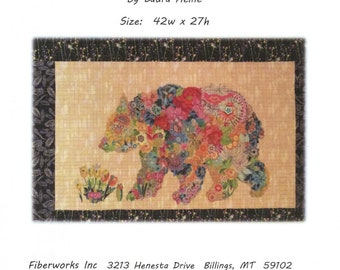 "Paisley Bear -  Laura Heine - Applique Quilt - Bear quilt 27""x43""  DIY Pattern Or Kit Option - full size reusable template pattern"