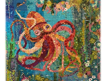 "Octopus Collage - Laura Heine - Applique Quilt - Octopus Garden 40""x54""  - DIY Pattern Or Kit Option - full size reusable template"