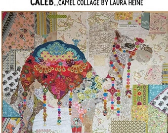 "Caleb Camel Collage - Laura Heine Pattern - Applique Quilt 45""x 53"" - DIY Pattern Or Kit Option - full size reusable template pattern"