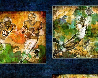 Football Fabric, Football Player Fabric - Gridiron by Dan Morris - Quilting Treasures - 26171 W Blue - Priced by the 24-Inch Panel
